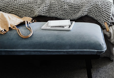 norsu interiors Cushion, Bluestone Linen with Charcoal Leather Piping