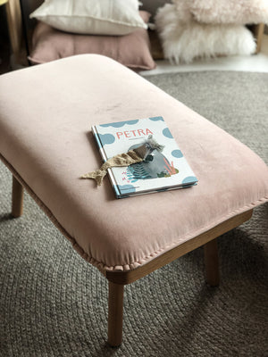 norsu interiors x The Cullin Design Petite Bench Seat, Petal Velvet with Oak Wooden Frame - norsu interiors
