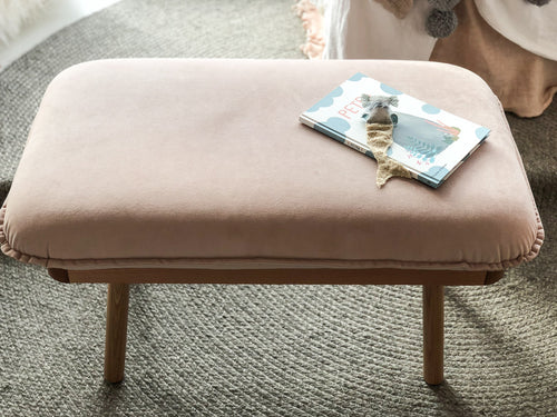norsu interiors x The Cullin Design Petite Bench Seat, Petal Velvet with Oak Wooden Frame