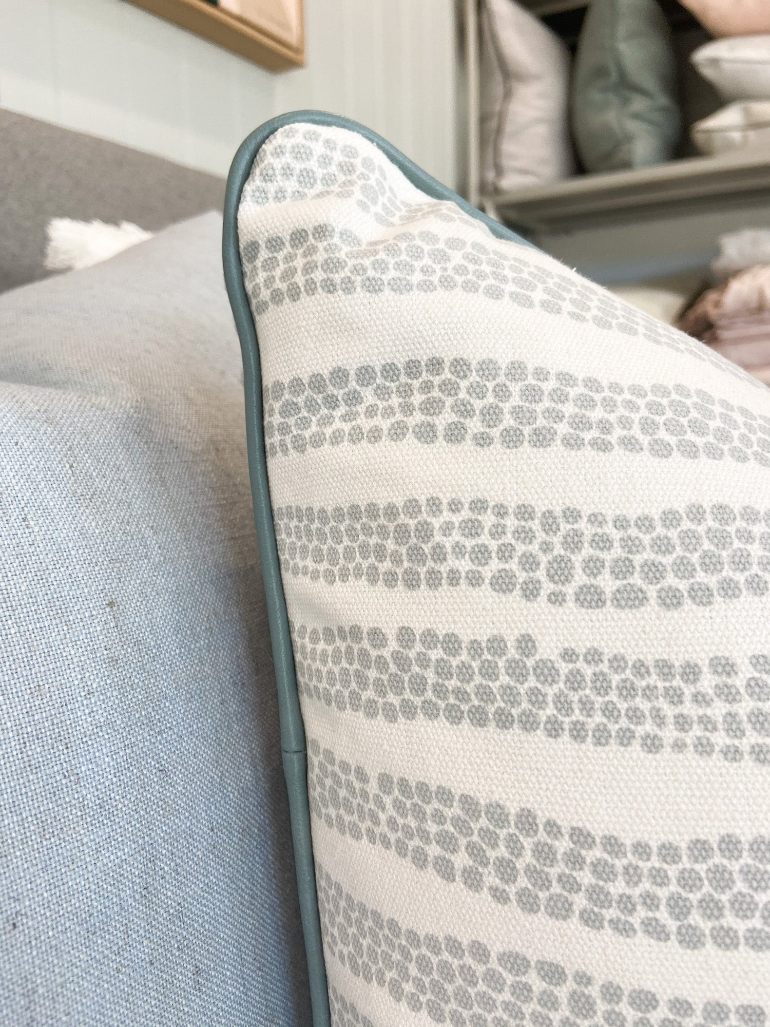 norsu x Ink and Spindle Cushion, Grey Pebbles with Duck Egg Blue Leather Piping (6119645184188)
