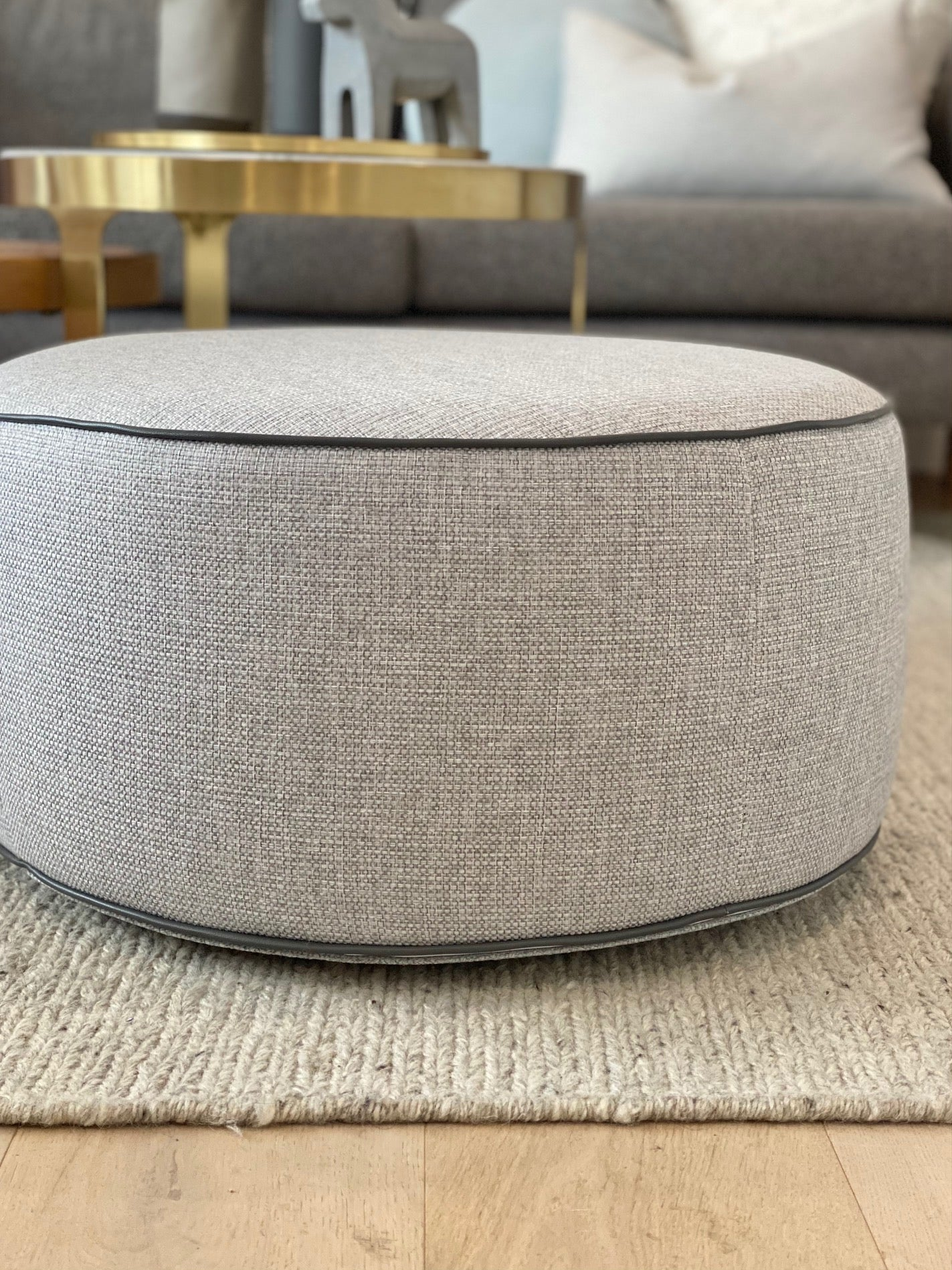 norsu interiors Bespoke Ottoman with Exclusive Charcoal Leather Piping (1469802152020)
