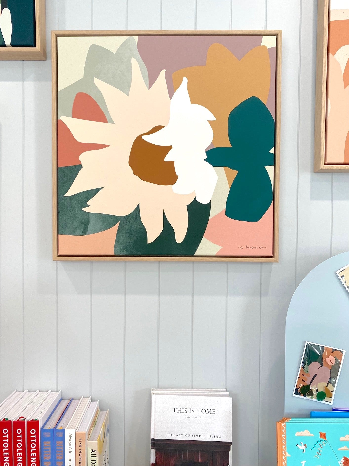 Oak Framed Kimmy Hogan 'Paper Daisies' canvas print - 63x63cm - Store pick up only (6155063001276)