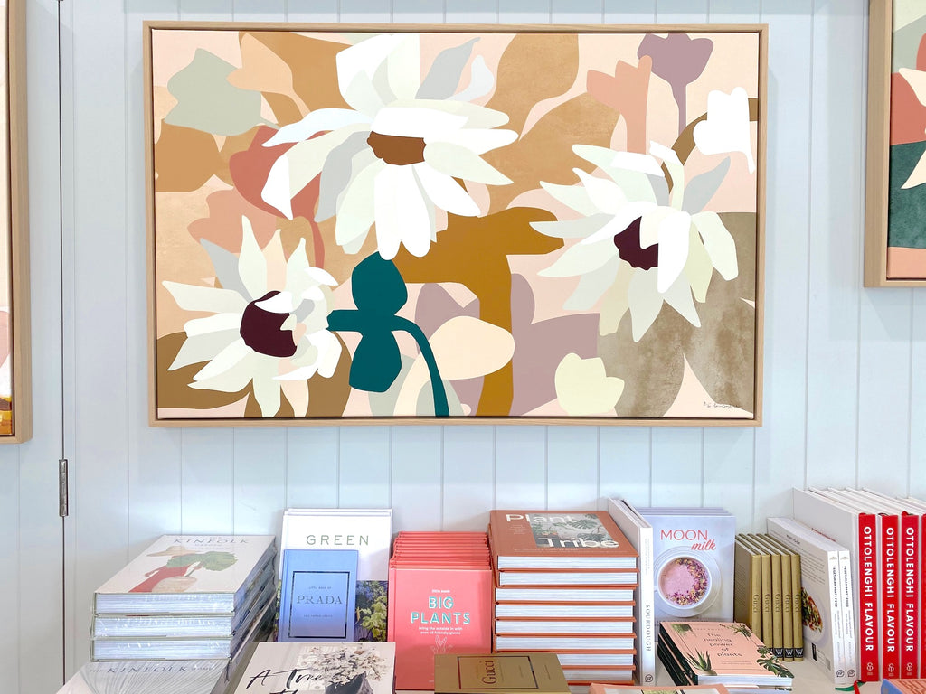 Oak Framed Kimmy Hogan 'Paper Daisies I' canvas print - 73x113cm - Store pick up only (6155066343612)