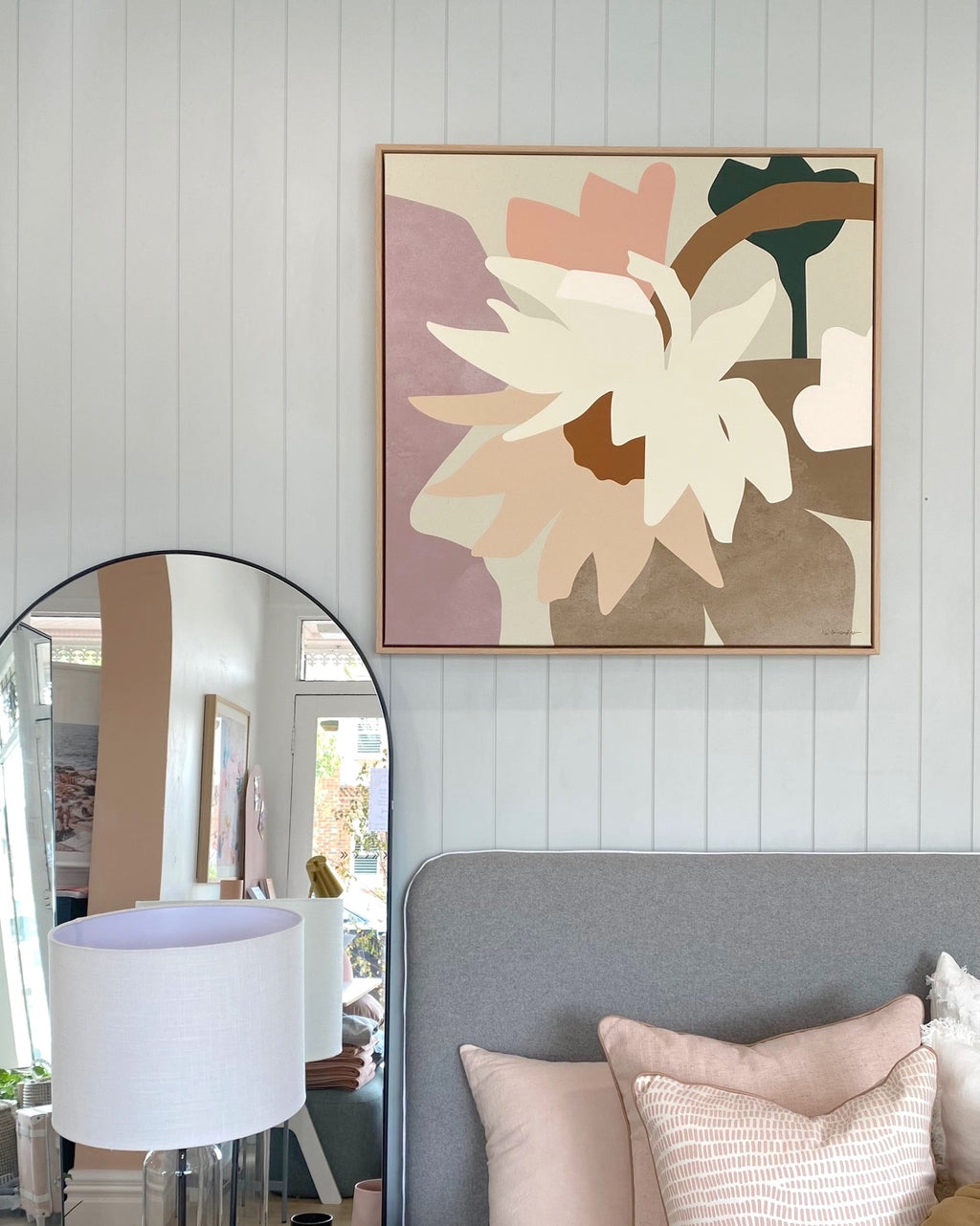 Oak Framed Kimmy Hogan 'Paper Daisies IV' canvas print - 93x93cm - Store pick up only (6155068309692)