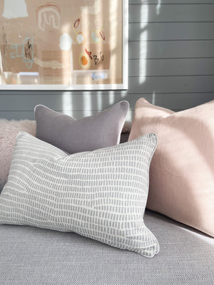 norsu x Ink and Spindle Cushion, Cool Grey Grass with White Leather Piping (4667899052116)