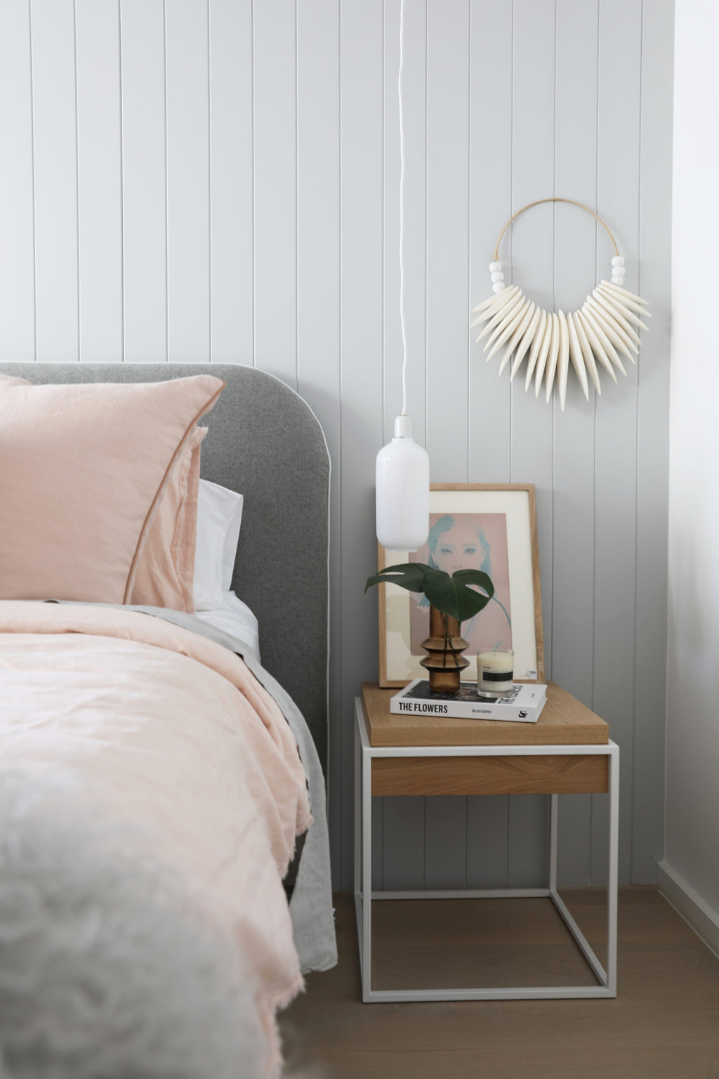 norsu interiors x The Cullin Design Curved bedhead, Felt with White Leather Piping