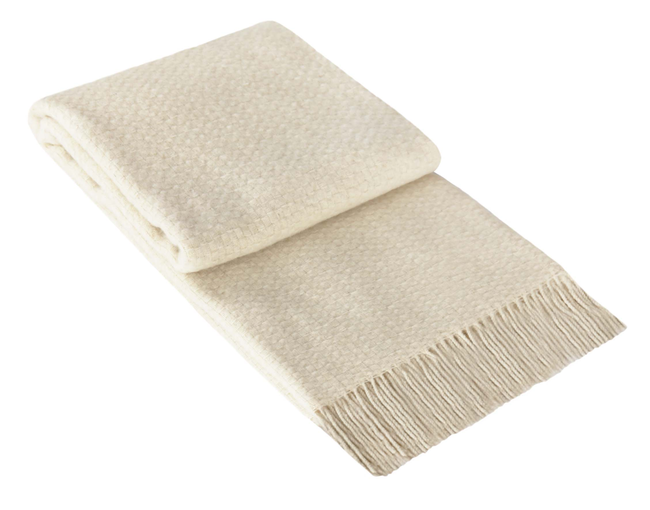 Winter White European Wool Blend Throw Blanket (4615385677908)