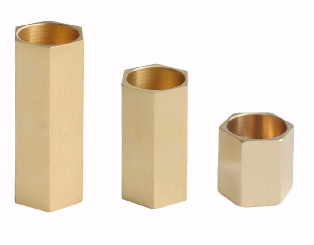norsuHOME Brass Hexagon Candle Holder - Medium (6084461822140) (6084462280892)