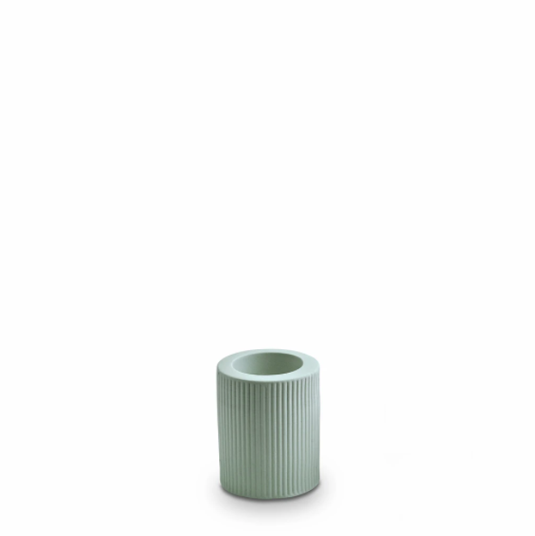 Marmoset Found Ribbed Candle Holder, Medium - Blue (4761421447252)
