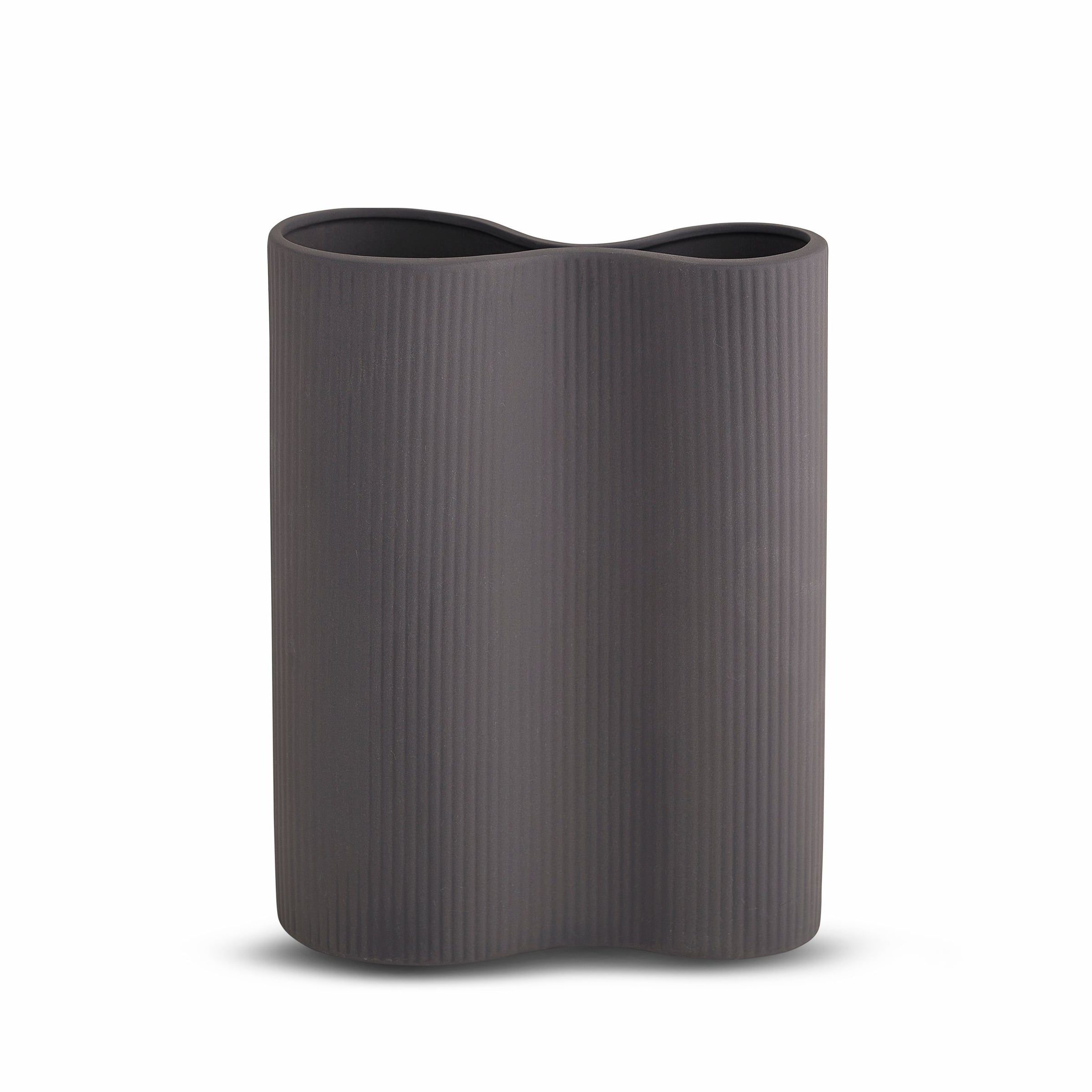 Marmoset Found Ribbed Infinity Vase, Medium - Charcoal (6625734394044)