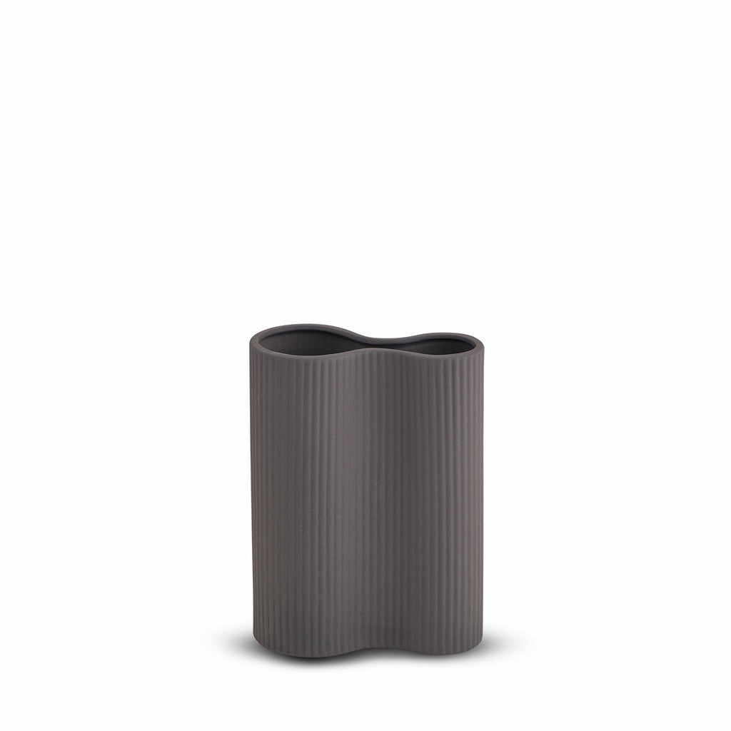 Marmoset Found Ribbed Infinity Vase, Small - Charcoal (6625751597244)