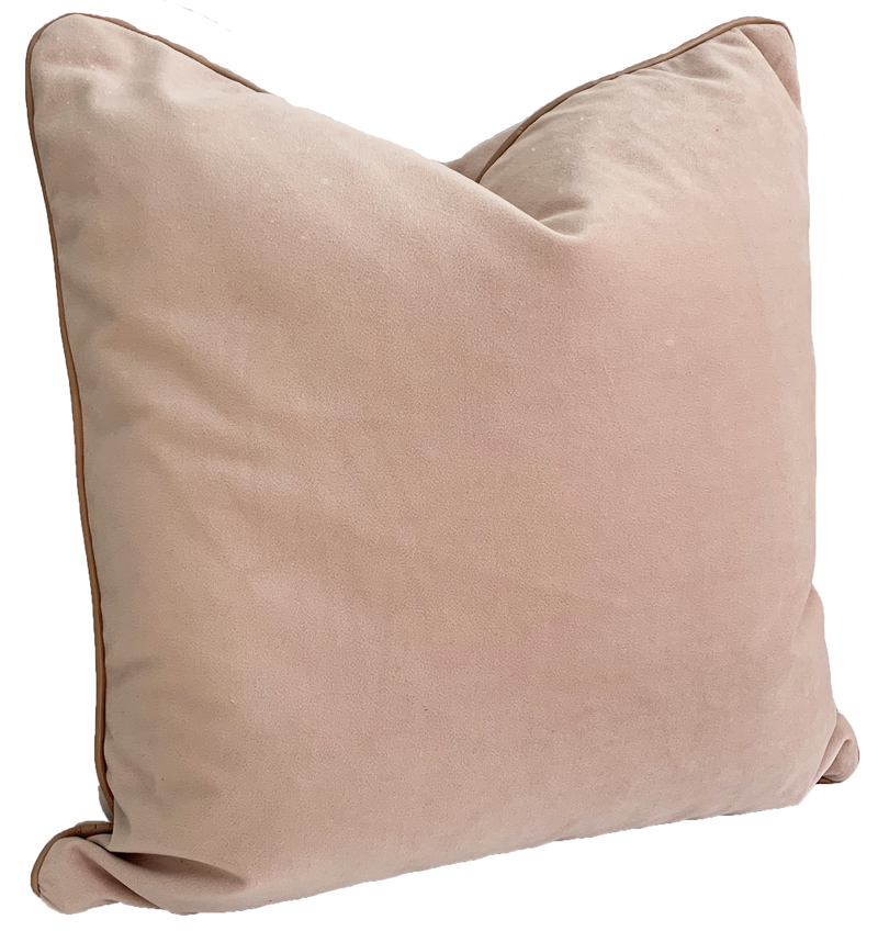 norsu interiors Cushion, Petal Velvet with Blush Leather piping (4650371219540)