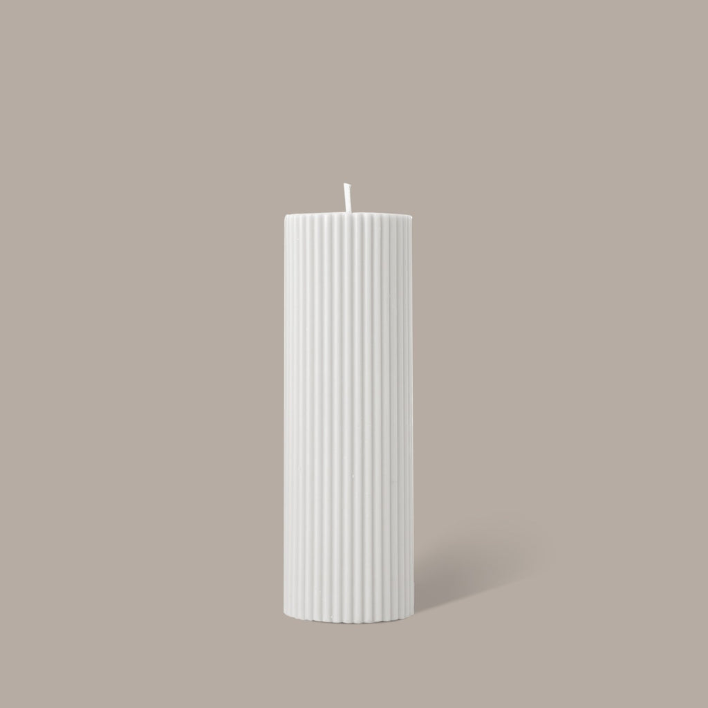Black Blaze Wide Candle - White/Cream (6144218759356)