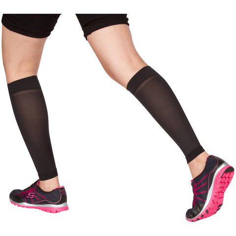 Evo Socks Unisex Sheer Microfiber Compression Calf Sleeves 10-15 mmHg - Black / Small / 1 Pair - Calf Sleeve - 1
