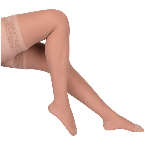 Evo Socks Women's Thigh High Compression Stockings 15-20 mmHg - Nude / Small / 1 Pair - Thigh High - 1