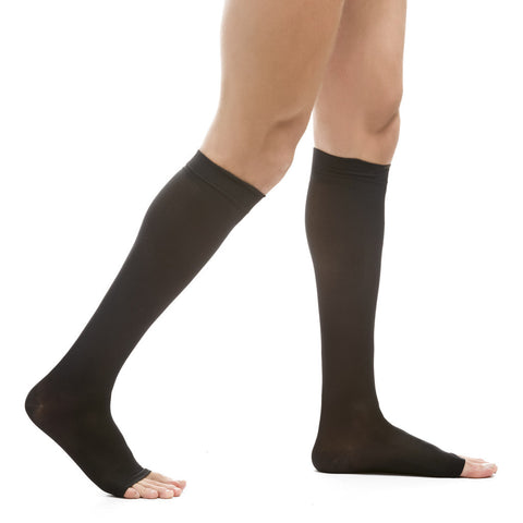 Evo Socks Men's Open Toe Microfiber Compression Socks 20-30 mmHg - Black / Small / 1 Pair - Knee High - 1