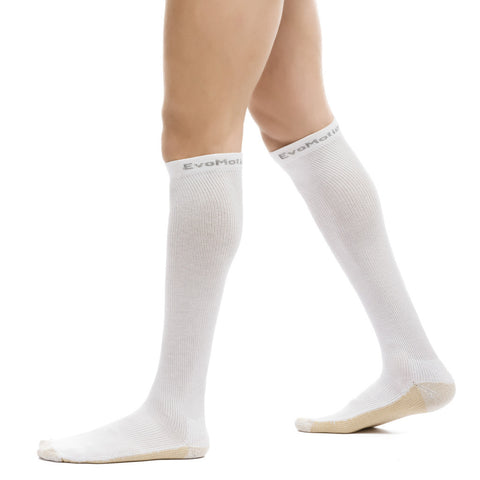 Evo Socks Unisex Hydrotec Copper Microban Compression Socks 15-20 mmHg - White / Medium / 1 Pair - Knee High - 1