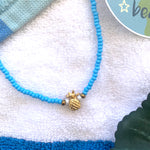 Seed Bead Choker- Blue Gold with Gold Pineapple Charm