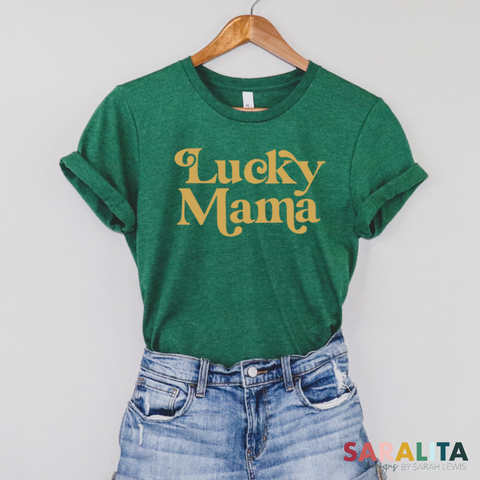 Lucky Mama- ADULT Green Tee