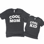 Cool Mom & Cool Kid-Set of 2 Unisex Heather Gray Shirts