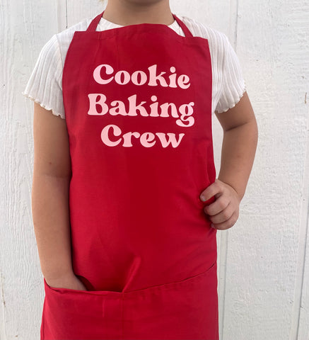 NEW! Cookie Baking Crew- Red Apron w/ Pink Design