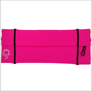 Pink and black running belt.