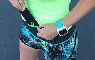 Running belts with visible pockets