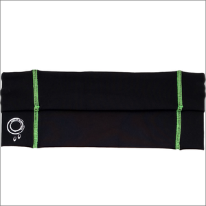 Black Running Belt With Green Stitching
