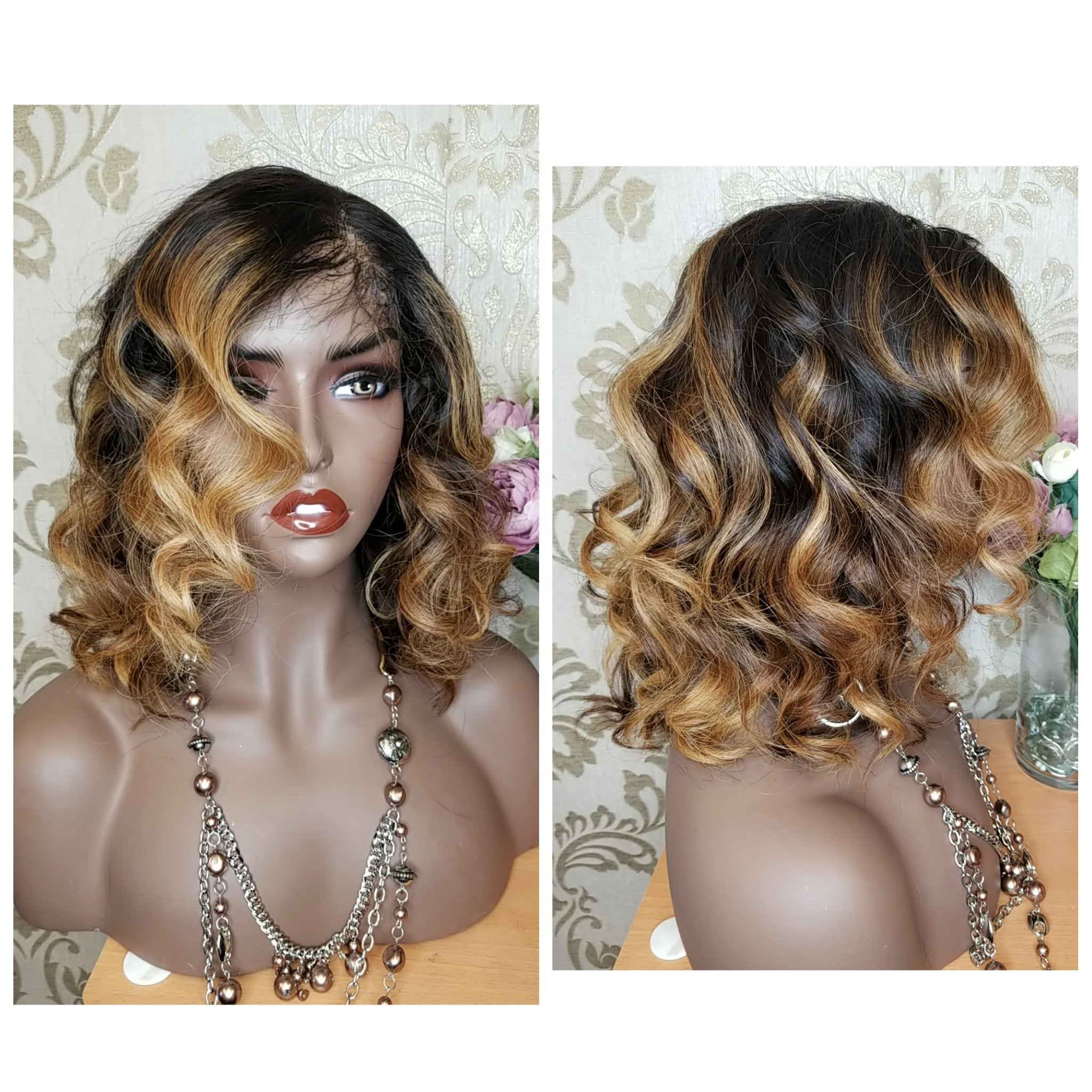 Glueless Claressa Raw Cambodian Wand Curled/ Highlighted Unit