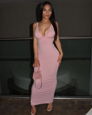 Anthoula Pink Ribbed Maxi Dress Dress KJ STYLE BOUTiQUE