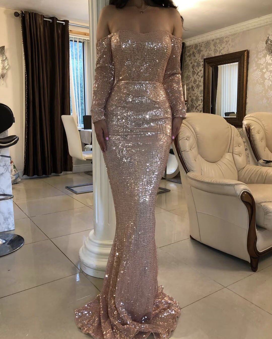 Antoniya Off The Shoulder Sequin Gown Gown KJ STYLE BOUTiQUE