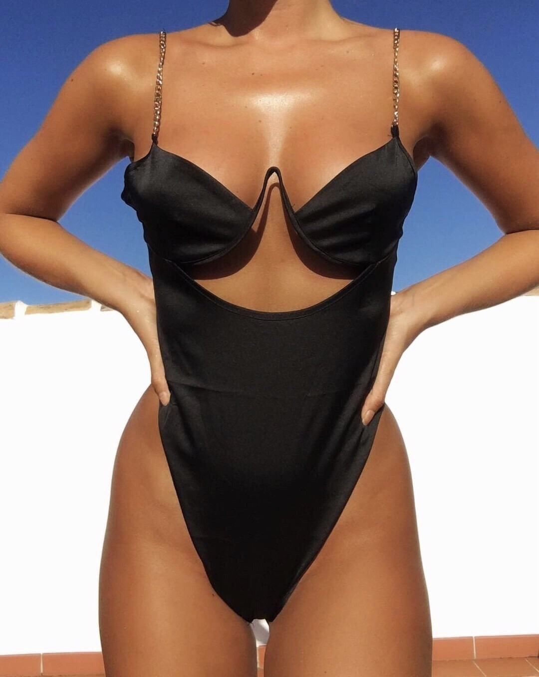 Aylin Black Satin Keyhole Bodysuit Satin bodysuit KJ STYLE BOUTiQUE