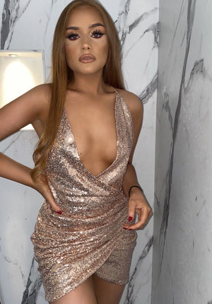 Clarissa Gold Sequin Wrap Dress KJ STYLE BOUTiQUE