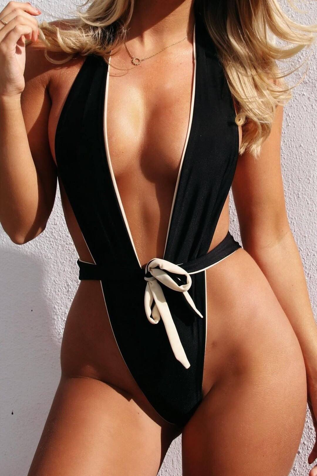 Connie Nude & Black Contrast Swimsuit Swimsuit KJ STYLE BOUTiQUE