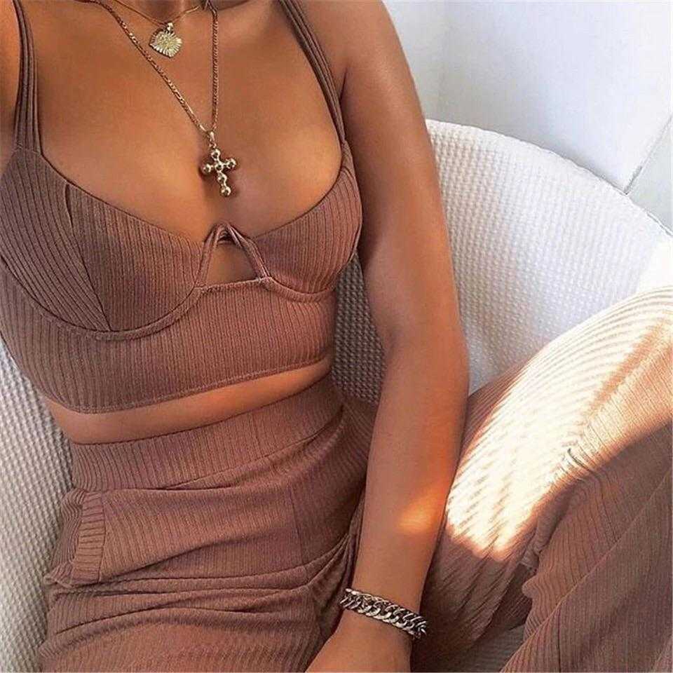 Izina Coffee Ribbed Two Piece Set Ribbed Two Piece Set KJ STYLE BOUTiQUE