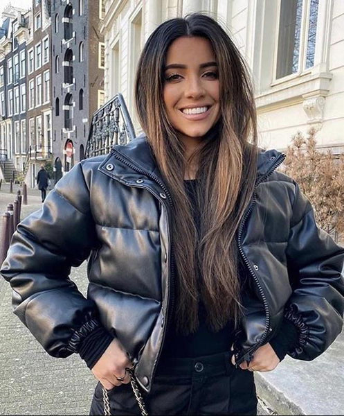 Kady Faux Leather Puffer Jacket Puffer Jacket KJ STYLE BOUTiQUE
