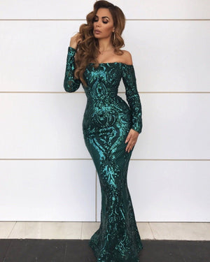 Lydia Green Off The Shoulder Sequin Gown Dress KJ STYLE BOUTiQUE