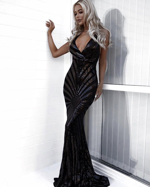 Talitha Geometric Sequin Gown Dress KJ STYLE BOUTiQUE