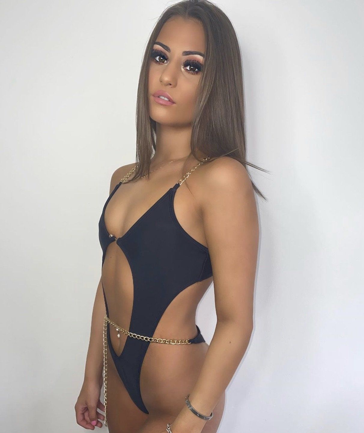 Zarina Black Chain Cut Out Swimsuit Swimsuit KJ STYLE BOUTiQUE