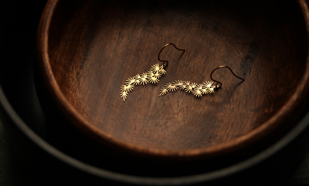 Pine Earrings S Gold