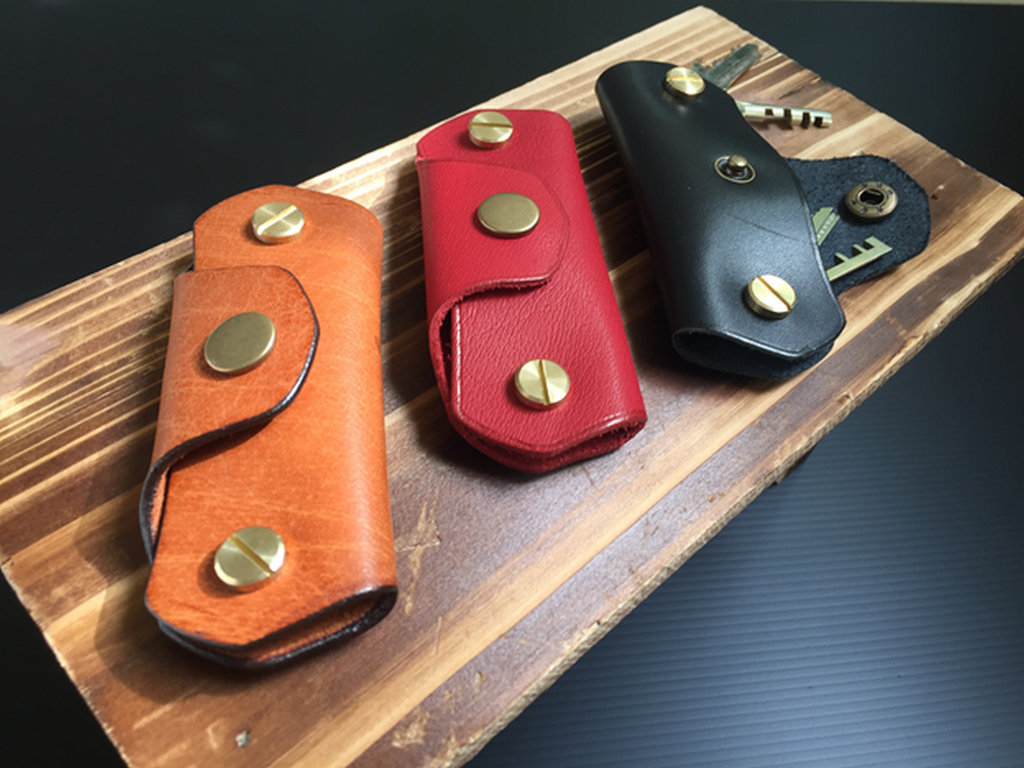 Full-Grain Leather Double Switch Blade Keyholder