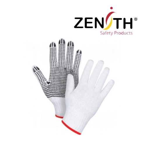 White Poly/Cotton Dotted Gloves