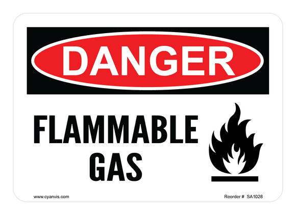 CYANVIS safety sign legend, Danger - FLAMMABLE GAS