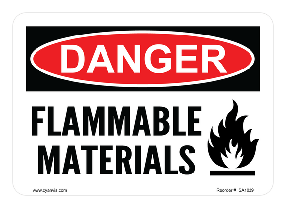 CYANVIS safety sign legend, Danger - FLAMMABLE MATERIALS