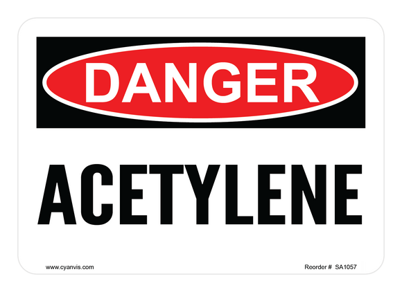 CYANVIS safety sign legend, Danger - ACETYLENE