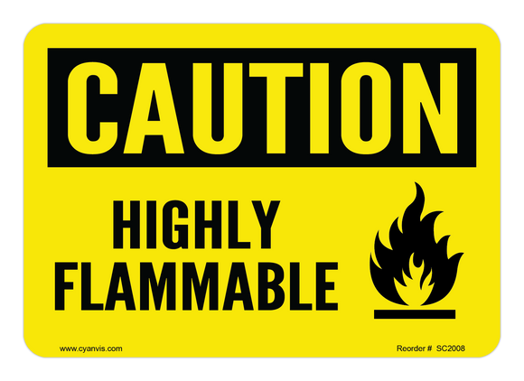 CYANVIS safety sign legend, Caution - HIGHLY FLAMMABLE