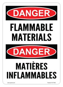 CYANVIS safety sign legend, Bilingual - Danger - FLAMMABLE MATERIALS | MATIÈRES INFLAMMABLES