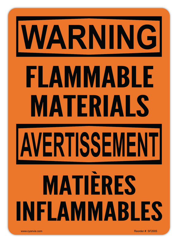 CYANVIS safety sign legend, Bilingual - Warning - FLAMMABLE MATERIALS | MATIÈRES INFLAMMABLES