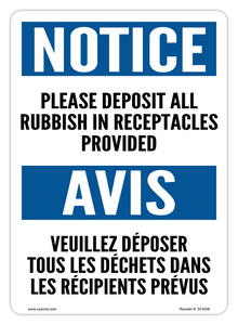 CYANVIS safety sign legend, Bilingual - Notice - PLEASE DEPOSIT ALL RUBBISH IN RECEPTACLES PROVIDED | VEUILLEZ DÉPOSER TOUS LES DÉCHETS DANS LES RÉCIPIENTS PRÉVUS