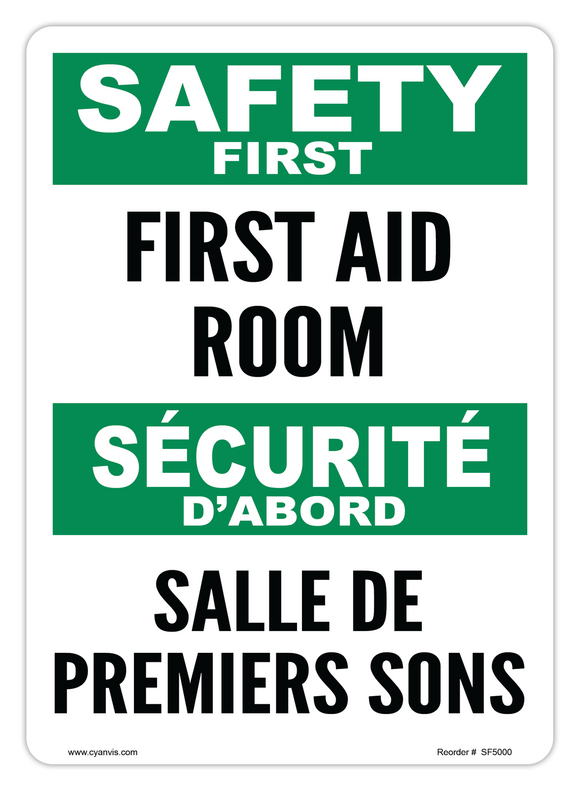 CYANVIS safety sign legend, Bilingual - Safety First - FIRST AID ROOM | SALLE DE PREMIERS SOINS